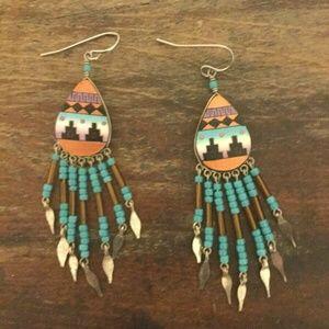 Southwestern Aztec Beaded Dangle Earrings